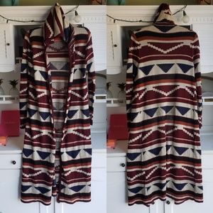 Forever 21 Duster Aztec Hooded Cardigan Sweater L
